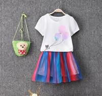 balloon skirt - 2016 Summer New Girls Short Sleeved Balloons Rainbow Skirt Suit Two Pieces Children s Shorts