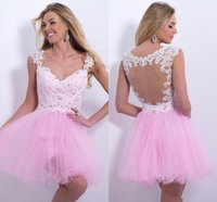 Wholesale Sexy Mini Short A Line Organza Graduation Dresses Pink Lace Appliques Beaded Prom Dresses Cocktail Dresses With Sweetheart Sheer Tulle Back