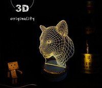 Wholesale NEW product Creative D Optical Illusion Wood LED Table Lamp Lighting Energy Saving Lamp