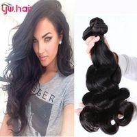outlet brazilian hair - Brazilian Body Wave Peruvian Malaysian Indian Brazilian Hair Bundles A Virgin Human Hair Weave Extensions Wavy Weft Factory Outlet