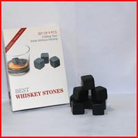 Wholesale 9 set Whiskey Stone beer wine rocks stone black drink ice cube Whisky Rock wine stone set with Velvet bag retail box