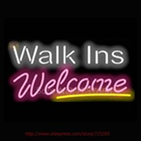 Wholesale Walk Ins Welcome Salons Neon Sign Commercial Neon Bulbs Real Glass Tube Handicrafted Recreation Room Attract Indoor VD x14