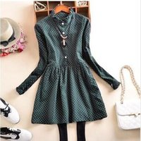 army dress code - New Cheapest Dresses The Spring Big Korean Lace Collar Dress Code Size Loose Thin Bottom Dress Army Green