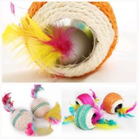 Wholesale Cutest Cat Toys Balls Brand New Six Holes Sisal Ball Cat Scratch Ball Dog Cat Toys Pet Balls Products