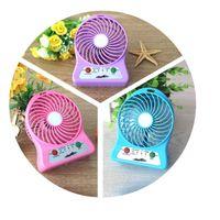 Wholesale USB Mini Fan Portable Electric Fans LED Portable Rechargeable Desktop Fan Cooling air conditioner portable fan has a battery DHL Free