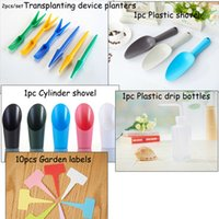 Wholesale 1set garden decor plant supplies Transplanting device planters Plastic shovel Cylinder shovel Plastic drip bottles Garden labels