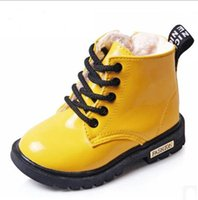 Wholesale 2016 New Winter Children Shoes PU Leather Waterproof Martin Boots Kids Snow Boots Brand Girls Boys Rubber Boots Fashion Sneakers