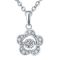 best friend flowers - 2016 New Design Dancing Diamond Sterling Silver Pendant Necklaces Flower Shape Jewelry with White Gold Plated For Best Friends DP11320A