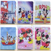 apple ipad mouse - Mickey Mouse Cartoon Tablet case Folio Folding with Kickstand PU case for iPad air Samsung Tab P3200 T310 T110 OPP BAG