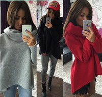 add t shirts - 2016 Fashion Autumn winter irregular high collar scarf collar Long sleeve shirt women Loose add velvet T shirt sweater Sweatshirt