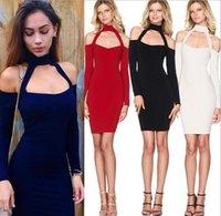 Wholesale New Euro Long Sleeve Sexy Halter Night Dress Women fashion Club Flexibility Dress
