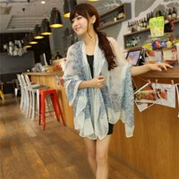 bali fashion - Retro Blue And White Porcelain Ladies Scarf Folk Style Autumn And Winter Bird Lady Bali Korean New Colorful Scarf Shawl Scarves Large Ctton