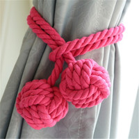 Wholesale 2016 NEW Pastoral Handmade Curtain Tie Back Double Ball Straps Tieback Cotton Rope Clips Buckle Holders Home Decoration