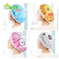 Wholesale Home Waterproof Shower Cap Adult Female Models Cartoon Shower Cap Hats Bath Kitchen Cooking Anti Smoke Hoods