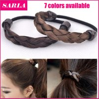 american fastening - 1pc Hair Ring Hair Rope Elastic Braided Tonytail Wrap Hairband Fastening Accessories Synthetic Headwear Ponytails Holder