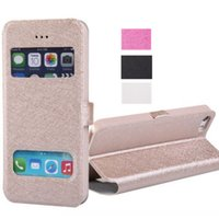 Wholesale For iPhone S Built in Card Slot Silk Flip Leather Pattern Case inch Stand for Mobile Phone Dual Window View PU
