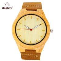 bamboo quartz - iBigboy Fashion Yellow Bamboo Wooden Watches Men Women Gift Wrist Watch Quartz Movement Leather Strap IB Ba