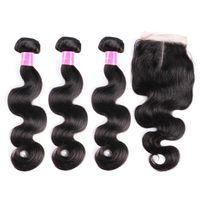 Wholesale Middle part quot x4 quot top lace closure with bundles body wave hair extension Virgin human hair weave brazilian remy hair weft