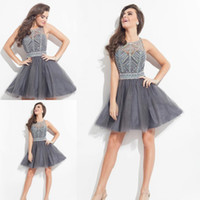 aline dress - Charming Grey Mini Party Dresses Scoop Neck Sequins Beaded Crystal Beading Back Cross Straps Homecoming Dresses ALine Short Cocktail Dresses