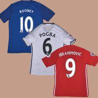 Wholesale 2016 Player Version Home Red Away White Football Soccer Jerseys Shirt FELLAINI IBRAHIMOVIC JONES MATA POGBA ROONEY Smalling MARTIAL