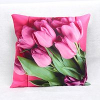 Wholesale 3D Tulip Pillowcase x45 cm For Mother Gift Decorative Printed Cotton ans Linen Pillowcases For Home