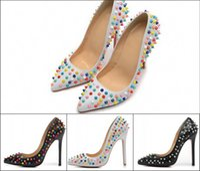 achat en gros de pompes pointes-Nouveau Designer 12cm Sexy Talons Chaussures Femmes Véritable cuir Cloaked dans un coloré Candy Spikes femmes chaussures habillées pompes