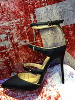 Wholesale New fashion fine leather shoes sandals documentary metal buckle stilettos Head leather shoes T Catwalk Fashion cusp high heeled shoe