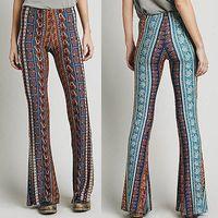 bell bottom pants - 2016 fASHION Vintage High Waist Bell Bottom Long Flare Pants Stretch Boho Hippie tribe Trousers S M L XL
