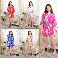 bath sleeve - Plus Size Womens Print Rayon Silk Robe Ladies Wedding Satin Long Sexy Pajama Lingerie Sleepwear Kimono Bath Gown Nightgown L182 M