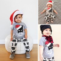 Wholesale 2016 Newest Infant Baby Clothes Sets Children Christmas Hats Print T Shirt With Batman Print Pants Two Piece Sets Kids Halloween Outfits