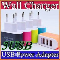 b mobile - US EU Plug USB Wall Chargers V A LED Adapter Travel Convenient Power Adaptor with triple USB Ports For Mobile Phone B SC