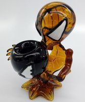 amber hand - New Arrive Latest Black and Amber Hot Sale Spiderman Hand Pipe Glass Smoking Pipes Glass Water Dogo inch Bongs