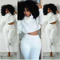 Wholesale 2016 New Hot Long sleeve piece pants Braid striped white collar Women Tracksuits Two piece Sets piece pants suit Jumpsuit Pants