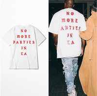 Wholesale Kanye West New T Shirt NO MORE PARTIES IN LA T shirts Short Sleeve White Tee Print tshirt Loose Boys