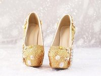 Cheap Golden Phoenix diamond flower bridal wedding shoes pearl tassel pendant High heels high waterproof women shoes
