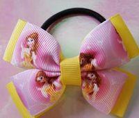 belle hair clip - Handmade princess belle hair bows barretes ribbon alligator clips cartoon ribbon girls birthday Christmas New Year school party gifts