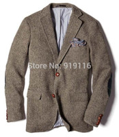 Wholesale 2016 tweed Wool Herringbone Tuxedos Actual Images British style custom made Mens suit slim fit Blazer wedding suits for men jacket only