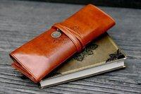 Wholesale New Fashion Retro Vintage Pencil Pen Case Cosmetic Pouch Pocket Brush Holder Makeup Bag