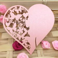 Wholesale 20Pcs set Romantic Pink Carved Heart Wine Glass Table Mark Name Place Card for Birthday Party Wedding Decoration