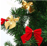 Wholesale 2016 New Christmas Tree Decorations Golden Silver Red Bow Christmas Decorations for Home Navidad