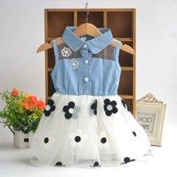 Wholesale 2016 Sleeveless Baby Kids Flower Dress Jeans Gauze Tutu Lace Dress Size cm Little Kids Baby Jeans Cotton Dress UF3921