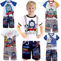 al por mayor trenes thomas-La ropa de los bebés de la historieta del tren de Thomas juego del ocio 2pcs Velero fijan la camiseta + pantalones de chándal niños trajes de ropa para ninos