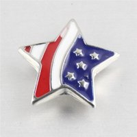 Cheap NOOSA Jewelry 18mm Star Shaped American Flag Pattern Ginger Snap Buttons DIY For Interchangeable Bracelet & Necklace DCBJ1078