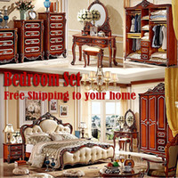 bedroom set dresser - Whole bedroom set furniture italian genuine leather cowhide incude bed Dresser Mirror and so on