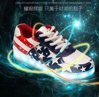 Wholesale 2016 NEW Colors LED Luminous Shoes star US flag Men Women Sneakers USB Charging Shoes LED Light Up Shoe Glowing couples Shoe