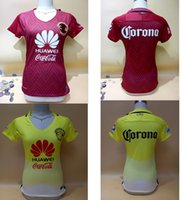 Wholesale Mexico club America women soccer jerseys best quality Mexico club America yellow red woman Lady R SAMBUEZA soccer football Jersey
