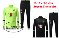 train set - Benwon Chelsea black football tracksuit high collar thai quality fluorescent full sleeve kits outdoor training sets sports tracksuit