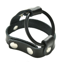 ball health - Man Massage Strap On PU Leather Penis Extender Ring With Ball Harness Ball Stretcher Ring Delay Cock Ring Men Health Products