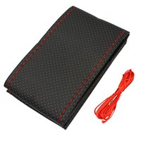 Wholesale Auto Steering Wheel Cover With Needles and Thread Artificial Leather Gray Black Red Beige Car Styling Automobiles Accessories Decoration Pro