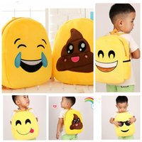 Wholesale Kids Emoji plush Backpack Emoji Schoolbag Shoulder Bag cartoon bag Baby Kids Plush Emoji Kindergarten Backpack New KKA745